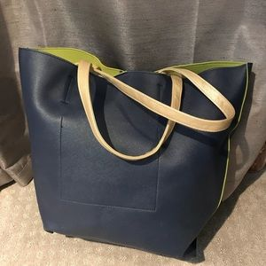 Navy/lime green tote